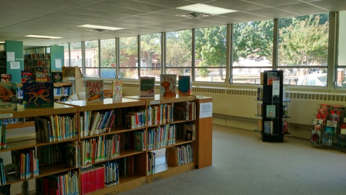 View from inside the Jessie Mae Everett Public Library.