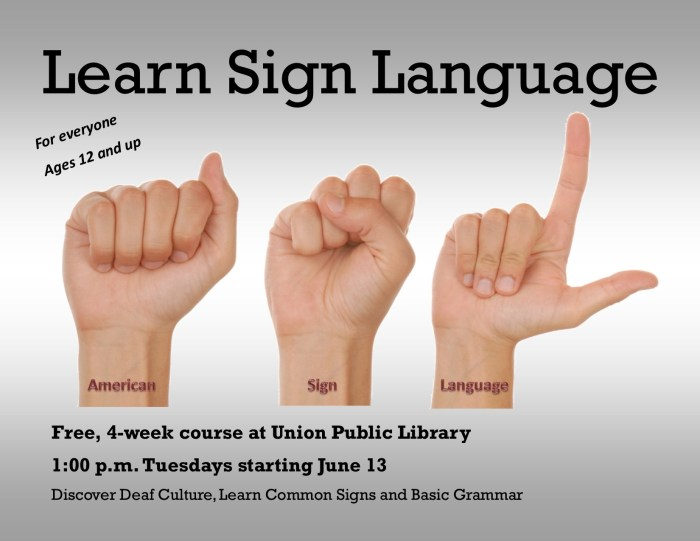 Learn sign language flyer.