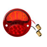 "LED Tail Light Lens with Red & Amber ""Stop"" Script 
