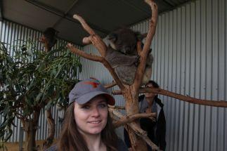 Sarah stellt sich nur vor den Koala - denn sie gönnt sich später was viel besseres