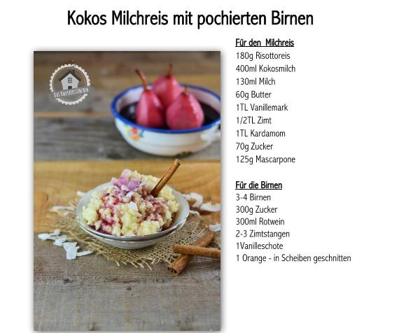 Rotwein pochierte Birnen und Milchreis