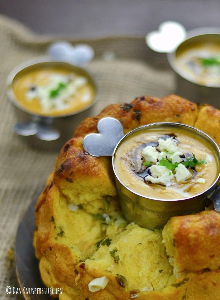 Suesskartoffel Linsensuppe mit Monkeybread 3-1