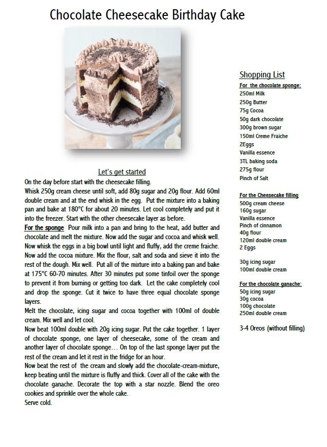 Chocolate Cheesecake Birthday Cake