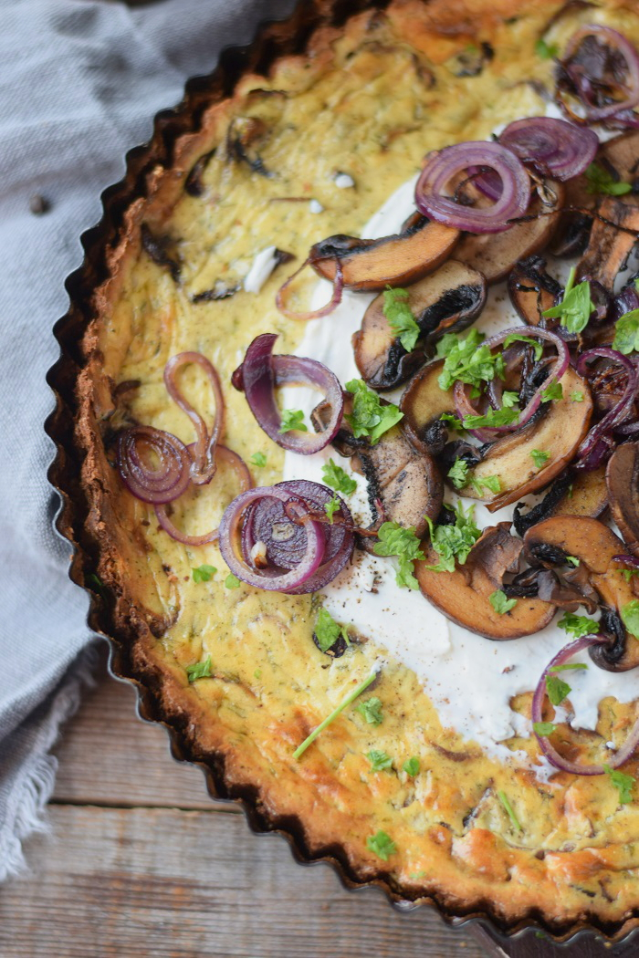 Herzhafter Cheesecake mit Pilzen 8