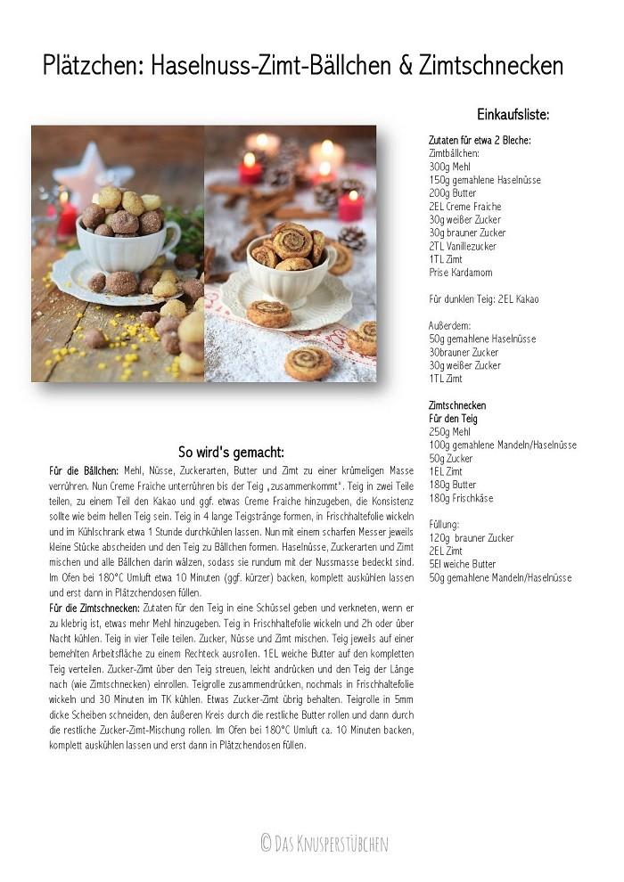 Haselnuss Zimtbällchen und Zimtschnecken Kekse Plätzchen Rezept-001