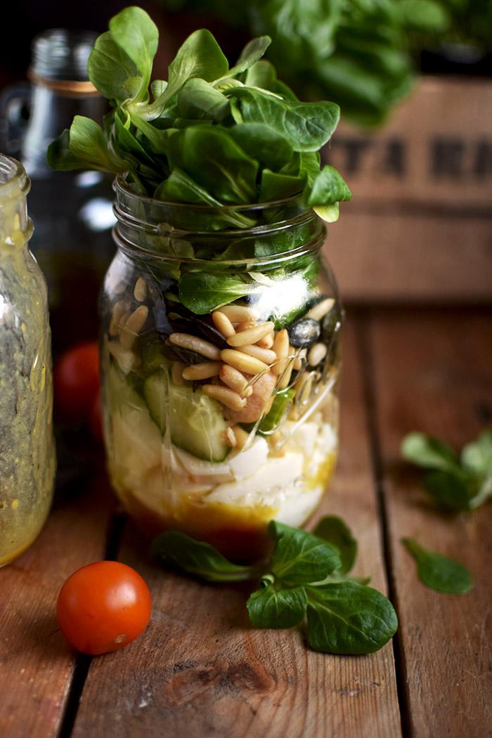 Honig Senf Salat im Glas - Honey Mustard Salad in a jar - Honey Mustard Dressing (11)