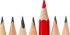 Buntstifte rot und schwarz, Lektorat