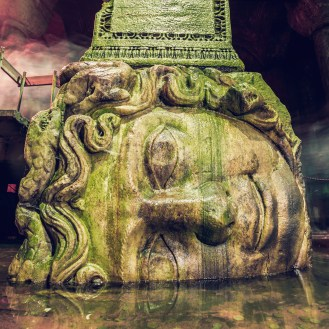The,Column,With,Inverted,Medusa,Head,Base,In,Basilica,Cistern.