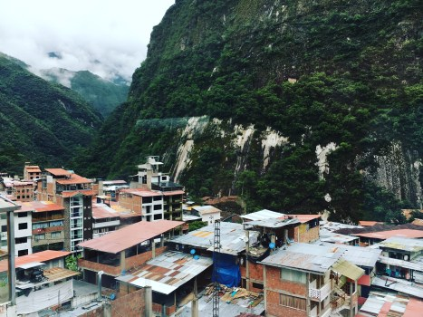 The beautiful view of Agues Calientes outside the window of my hotel during breakfast time.