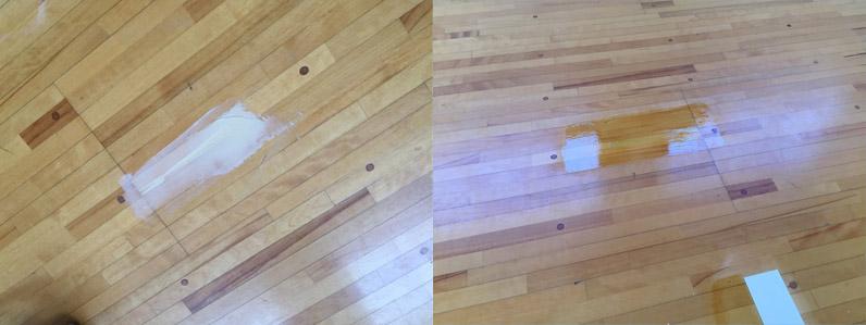 新潟県内体育館床傷補修