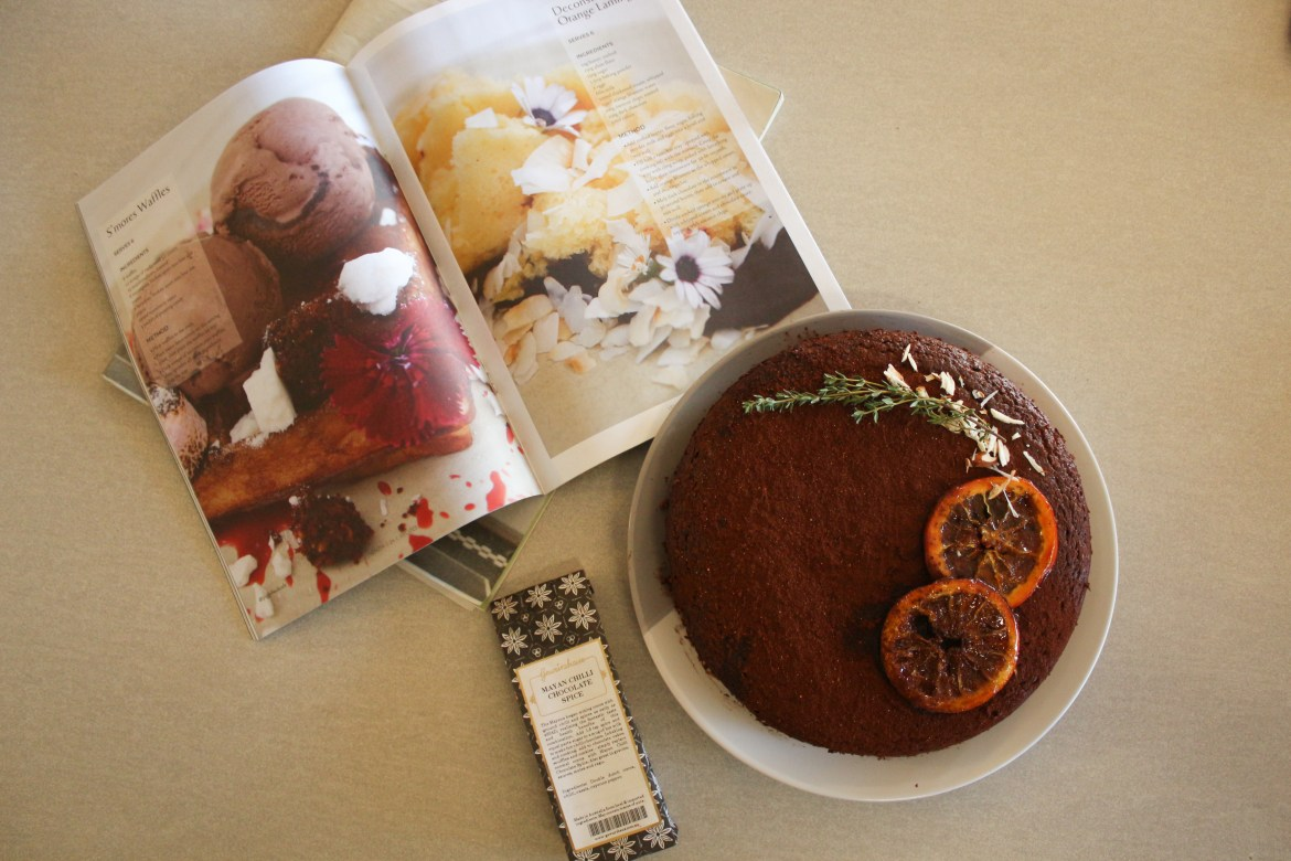 chilli choc orange cake with spice packet and cookbook