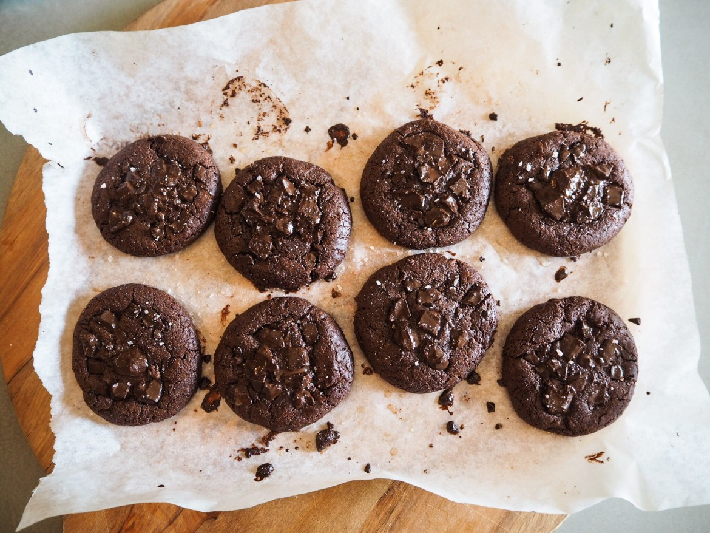 Tray of Salted Double Dark Chocolate Brookies