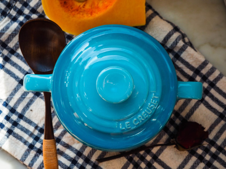 Creamy Pumpkin Ginger Soup in Le Creuset Pot