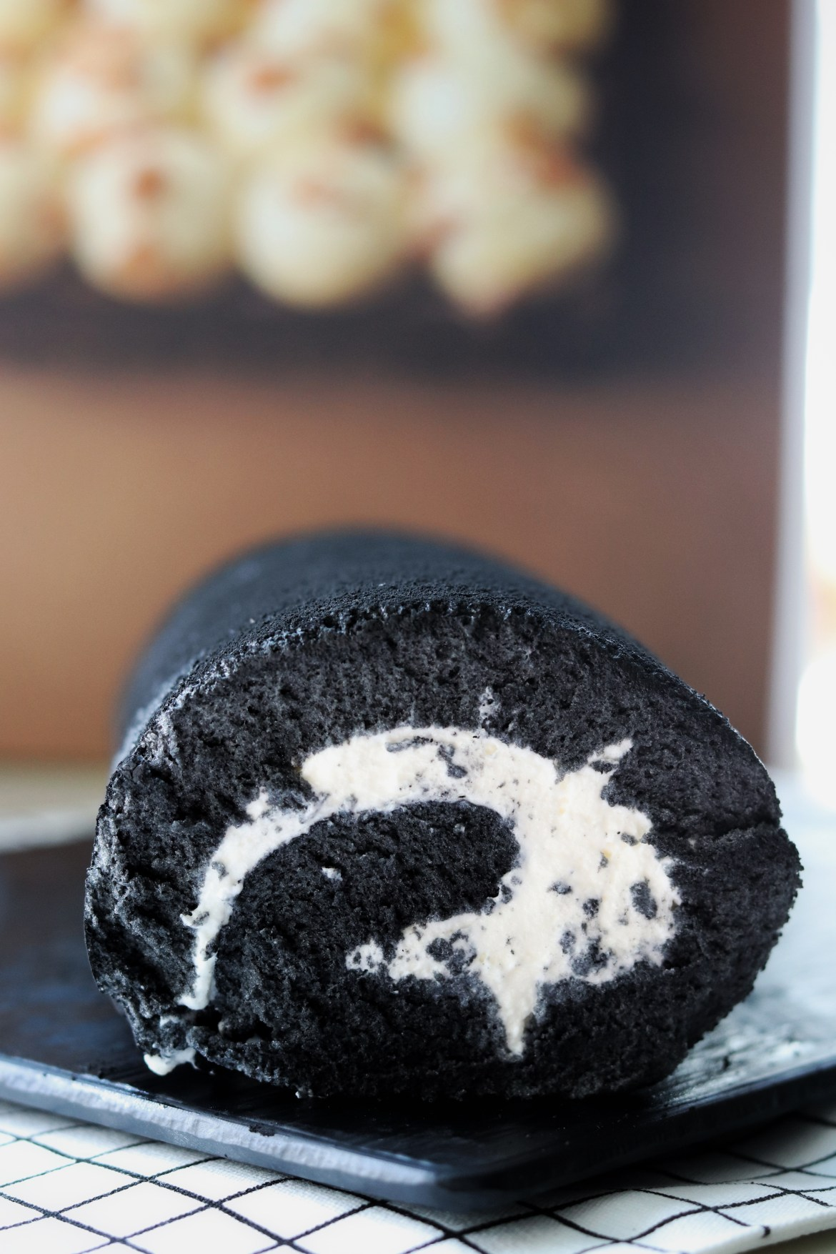 Charcoal Black Sesame Cake Roll