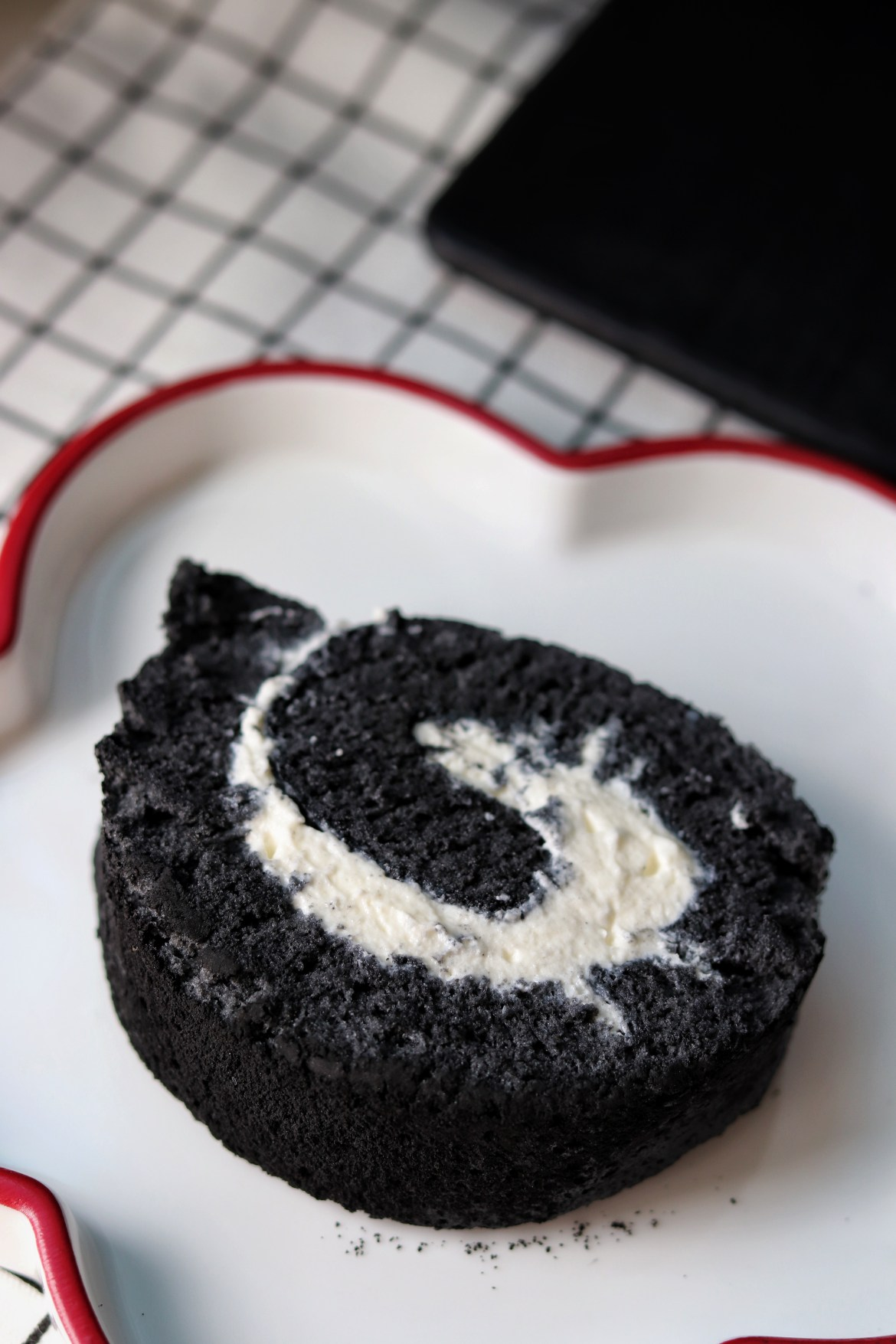Charcoal Black Sesame Cake Roll slice top view