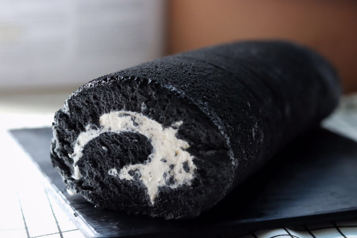 Charcoal Black Sesame Cake Roll side view