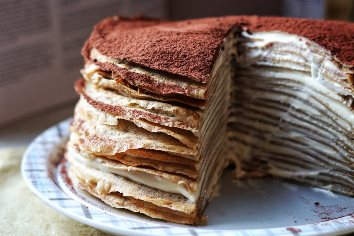 Tiramisu Crepe Cake cross section