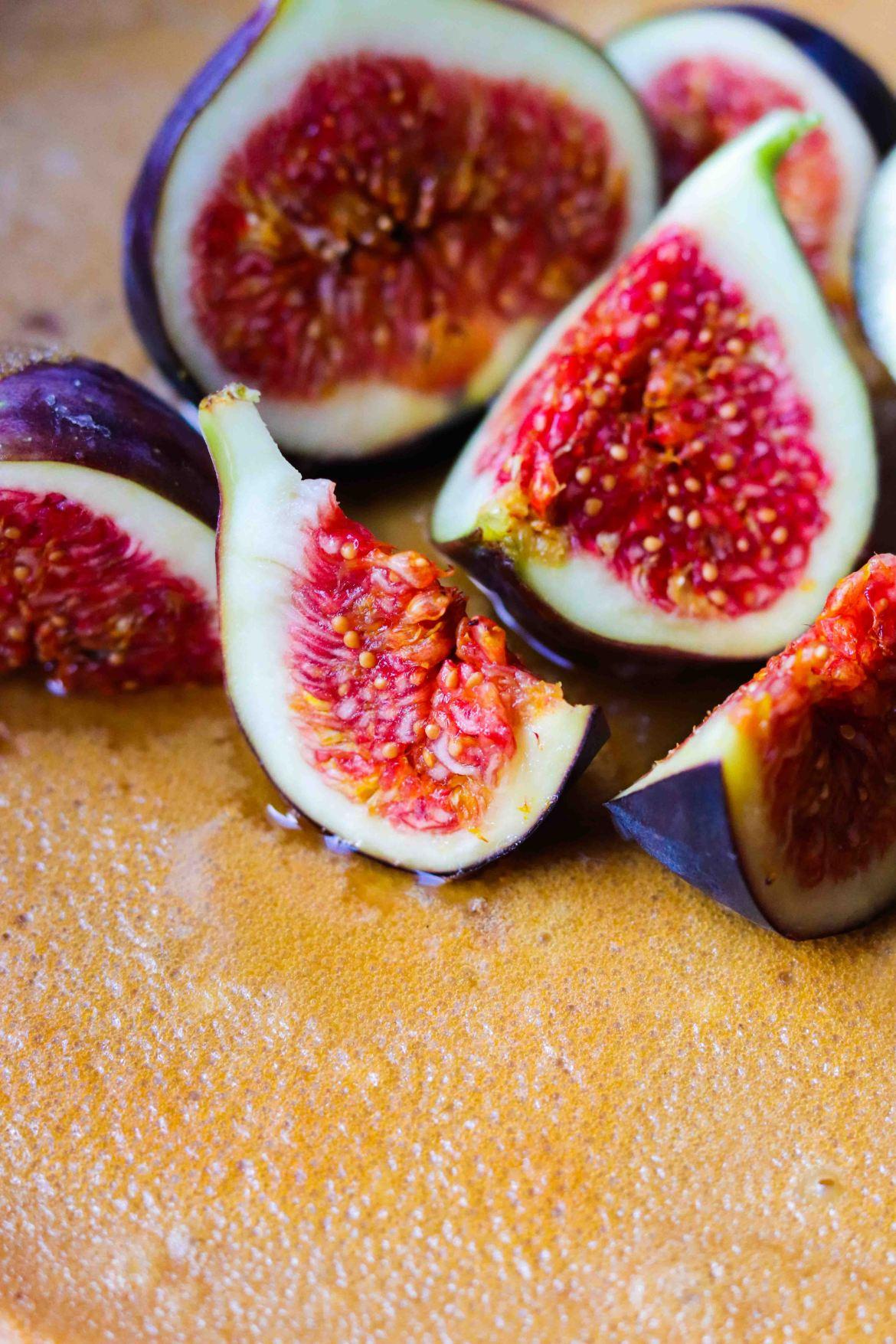 Fresh figs atop an Earl Grey Honey Lemon Mascarpone Cheesecake