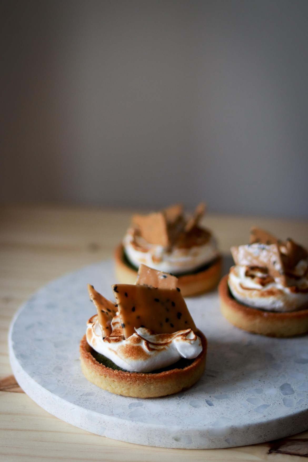 Matcha Almond Tart with Swiss Meringue and Sesame Brittle7