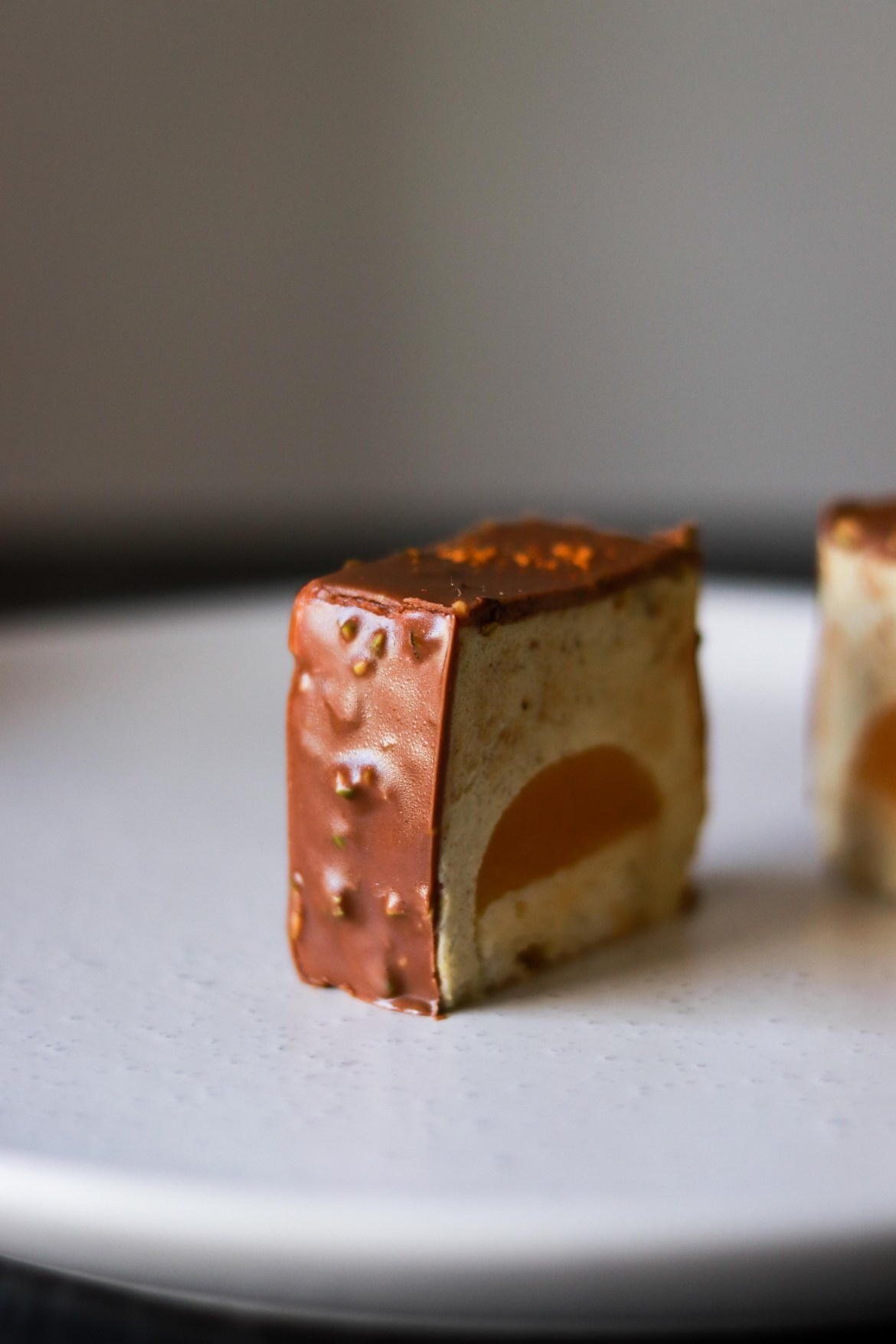 Pistachio Petit Gateaux with Passionfruit Jelly and Milk Chocolate Coating5