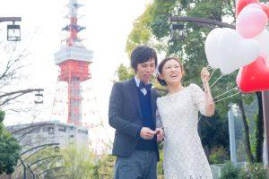 東京タワー前撮りエンゲージメント撮影