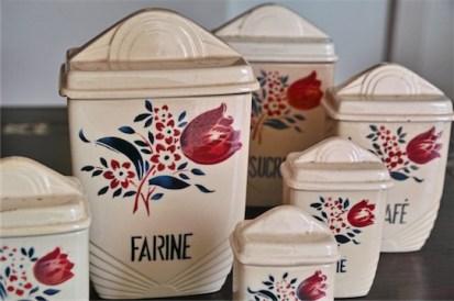 フランス製 陶器のキッチンキャニスター 6ヶ1セット 8