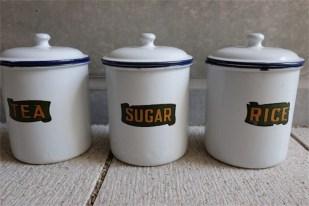 英国アンティーク ホーローキャニスター3セット(紅茶・砂糖・白米)同サイズ