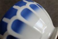 ティークカフェオレボウル その51 Lunevilleリュネヴィル(刻印なし) ブルーのうろこ柄 No.2のプリントあり 大きなサイズ