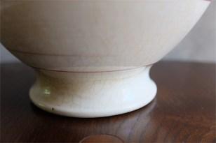 アンティークカフェオレボウル その52 フランス Luneville(リュネヴィル)製 リュネヴィルKGボウル 茶黄エンジのライン