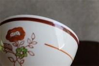 アンティークカフェオレボウル その53 フランス Gein(ジアン)社製  お花と茶色のライン柄