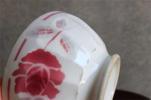 アンティークカフェオレボウル その55 Lunevilleリュネヴィル(刻印なし) 薔薇のプリント柄 No.3のプリントあり