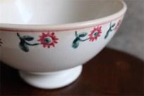 アンティークカフェオレボウル その70 フランス DIGOIN(ディゴアン)社製  スタンプの花柄が愛らしい特大サイズ