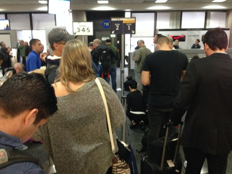 Waiting in line to board. This should be Washington, D.C.