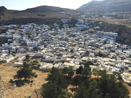 Lindos town as seen from the Akropolis.