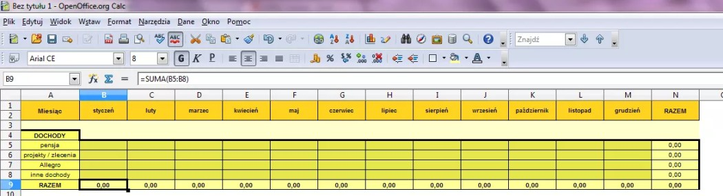 Prosty budżet domowy Excel