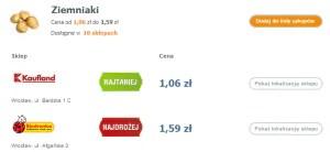 Porównanie cen w sklepach na wybranych produktach - ziemniaki