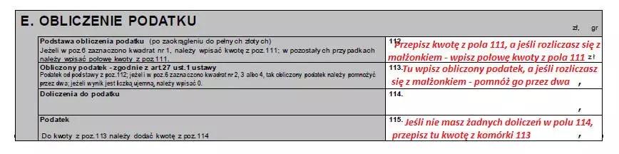 Schemat uzupełniania części E formularza PIT-37