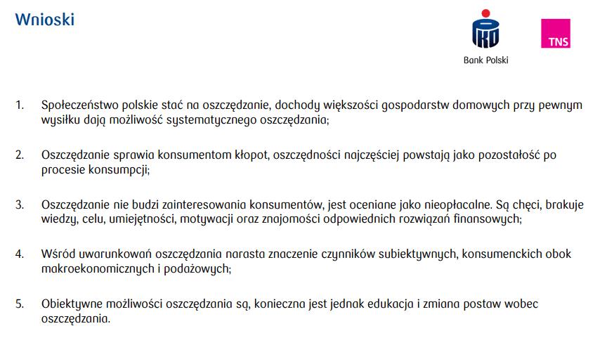 Badania PKO i TNS - jak oszczędzają Polacy - wnioski