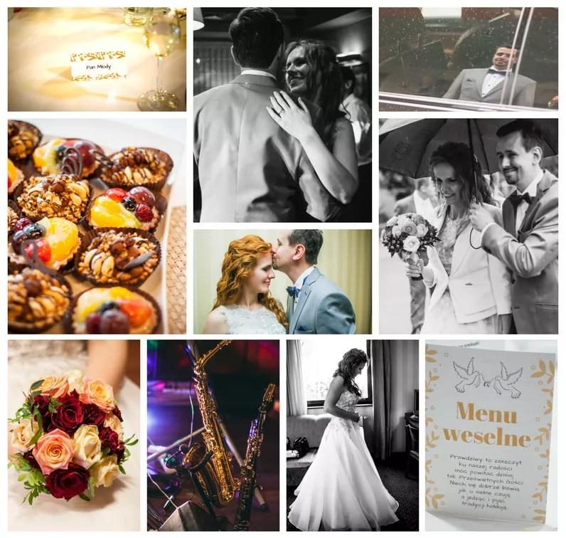 Kolaż ze zdjęć ze ślubu i wesela