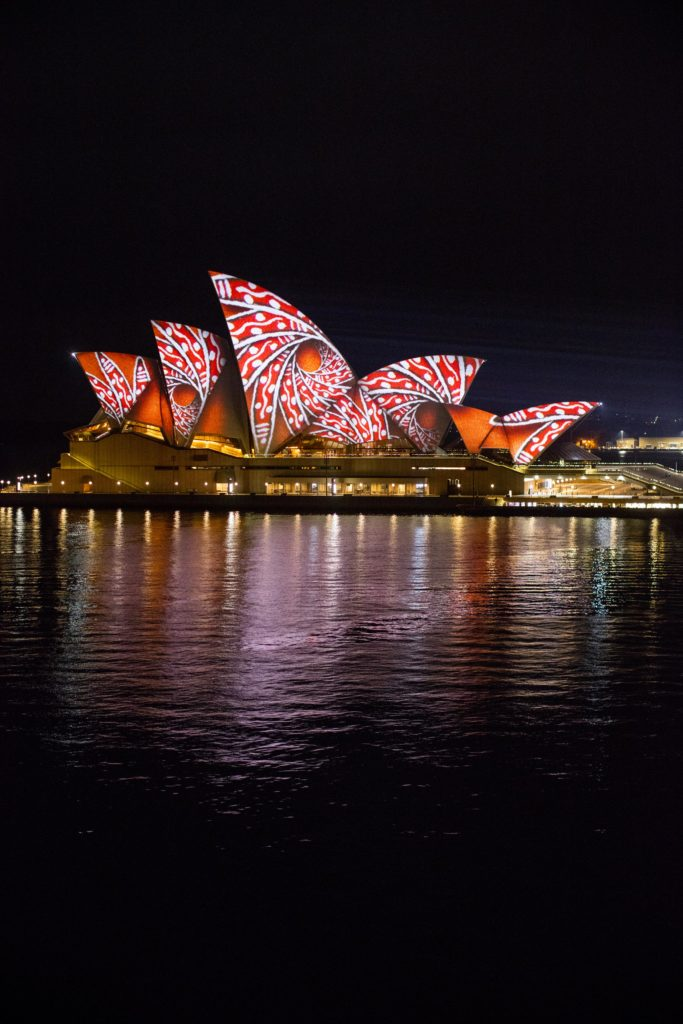 Vivid Sydney 2016, Opera House, Lighting The Sails, Songlines. 26/5/2016 Photo Credit - James Horan/Destination NSW