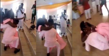 Over-Sized Wife Make Husband Fall Down After Trying To Carry Her - Video
