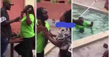 Wife Pushed Into A Pool After She Catches Side Chick N Husband Enjoying - Video