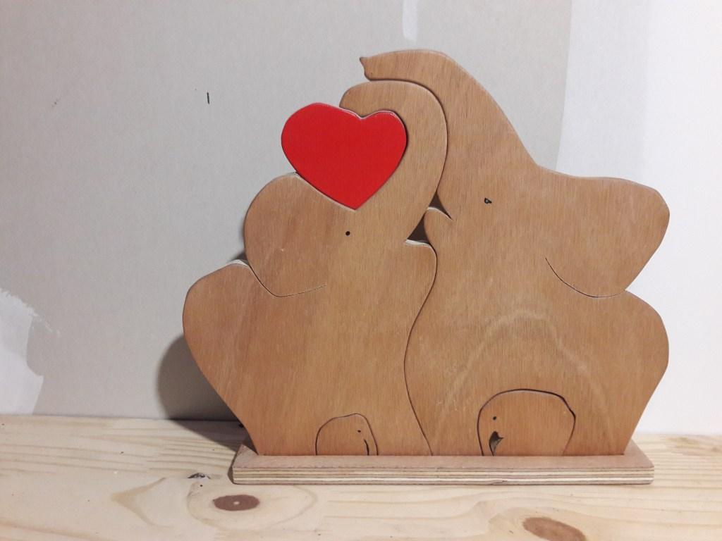 Puzzle en bois en 3D -éléphants-bois-découpé, peint et vernis tout à la main -jouet-jeux-puzzle-kobocreations