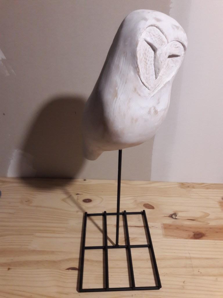 sculpture en bois chouette patinée blanche, par atelier kobo creations, moderne,design