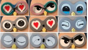 divers yeux de chouette en bois pour options complémentaires ou pour base, colorés peints à la main