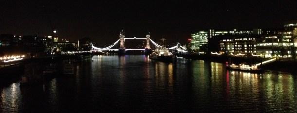 Skyline with Tower Bridge at night