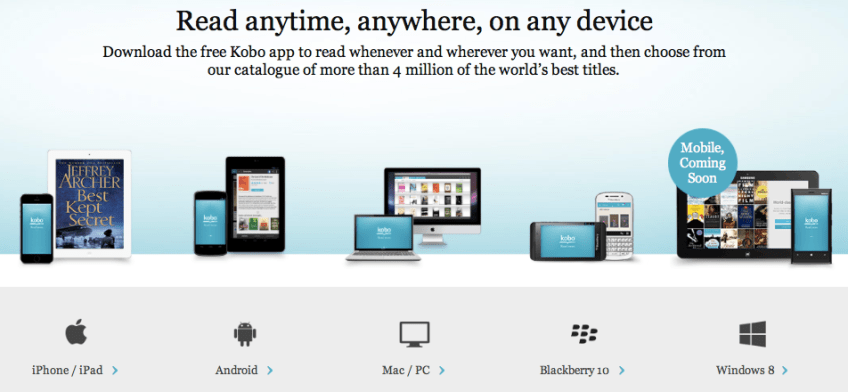 Apps Page on Kobo Store