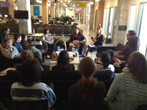 Faith and Rainbow in a group discussion with members of Kobo's Content team