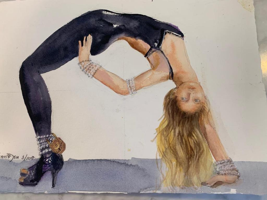 "A watercolour painting by Irene Tsu titled Yoga-Samantha. A woman performs  the yoga pose ""one armed wheel"" while wearing a black unitard and black heels."