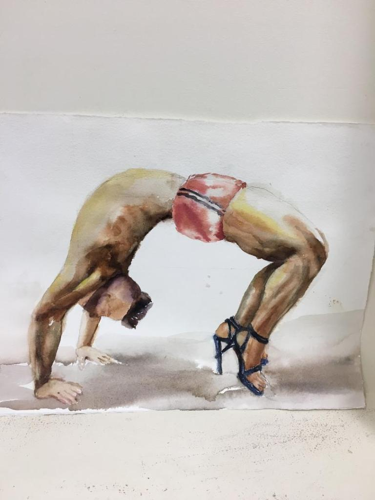 A watercolour painting by Irene Tsu titled Yoga Boy. A bearded man in short shorts and heels performs Wheel Pose.